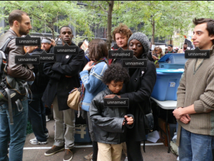 "people at Zuccotti park with ""Unnamed"" labels on them"